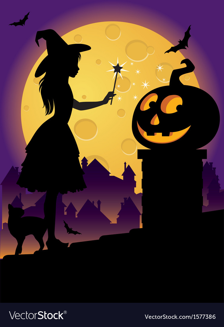 The little witch on the roof vector | Price: 1 Credit (USD $1)