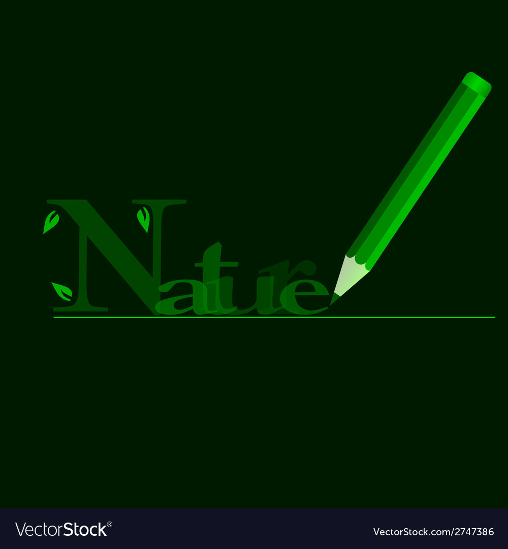 Nature in green with green wooden pen vector | Price: 1 Credit (USD $1)