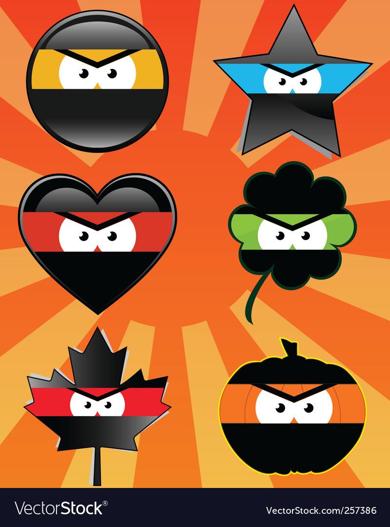 Ninja emoticons vector | Price: 1 Credit (USD $1)