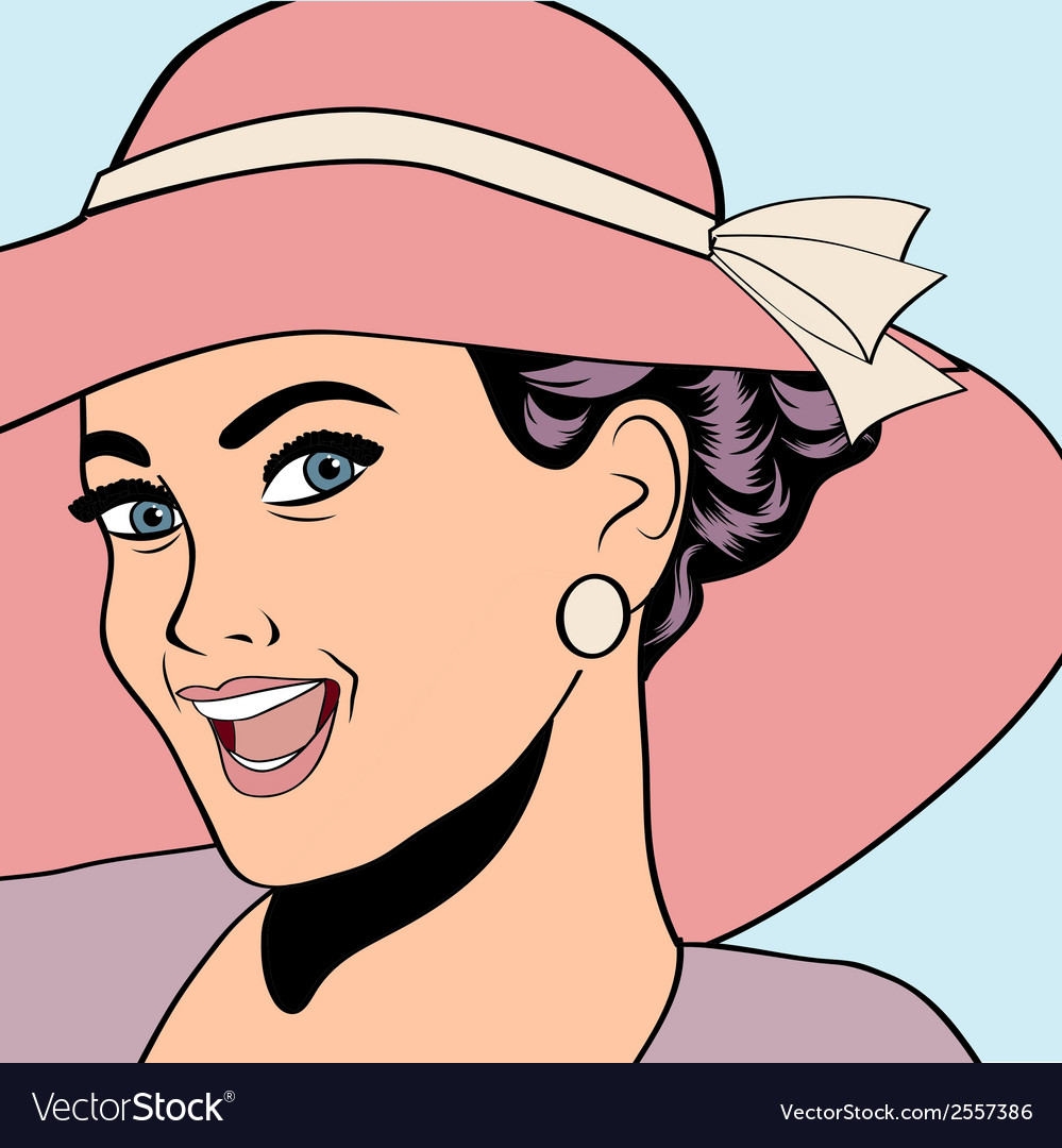 Popart retro woman with sun hat in comics style vector | Price: 1 Credit (USD $1)