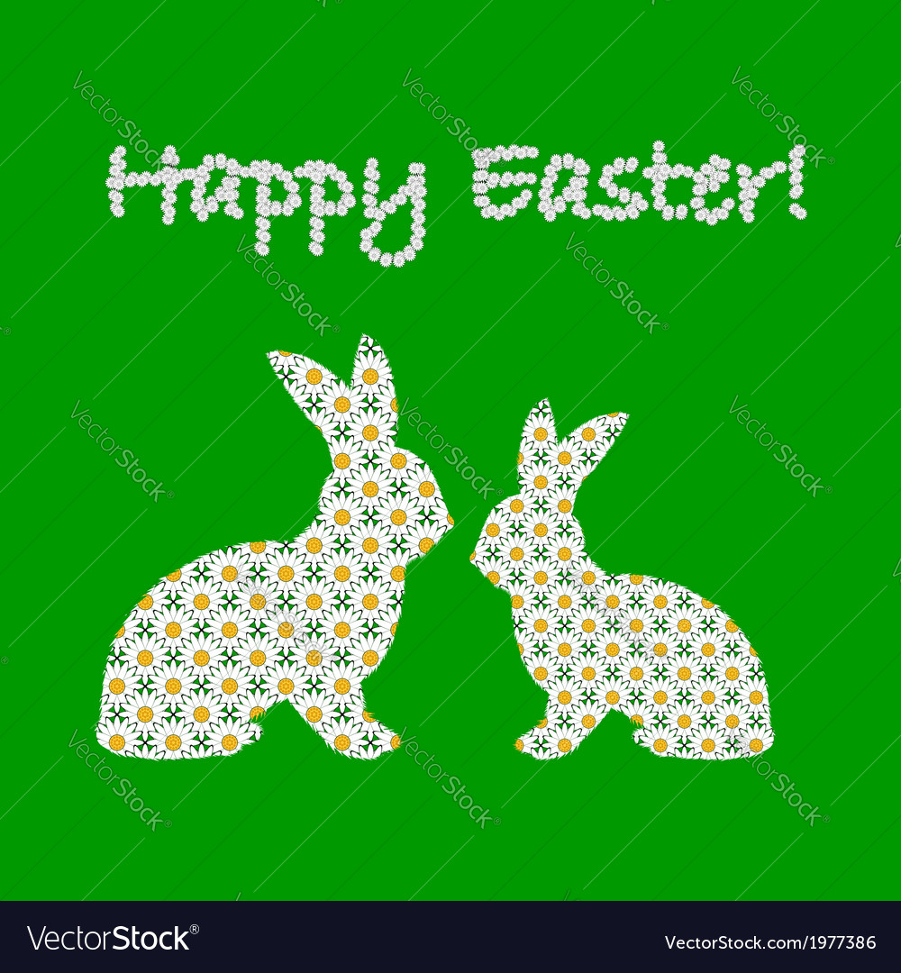 Silhouette of two easter bunny rabbits vector | Price: 1 Credit (USD $1)