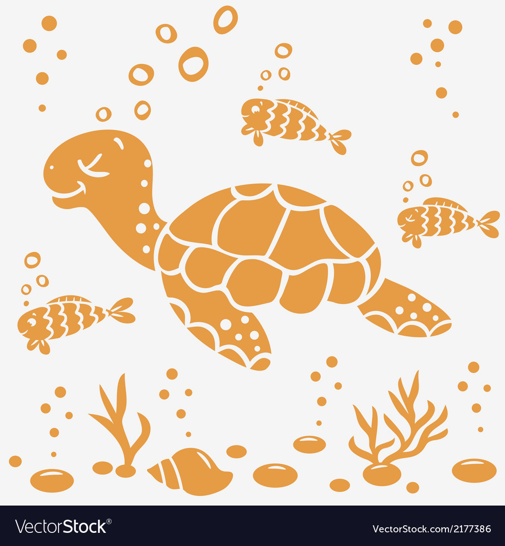 Turtle silhouette vector | Price: 1 Credit (USD $1)