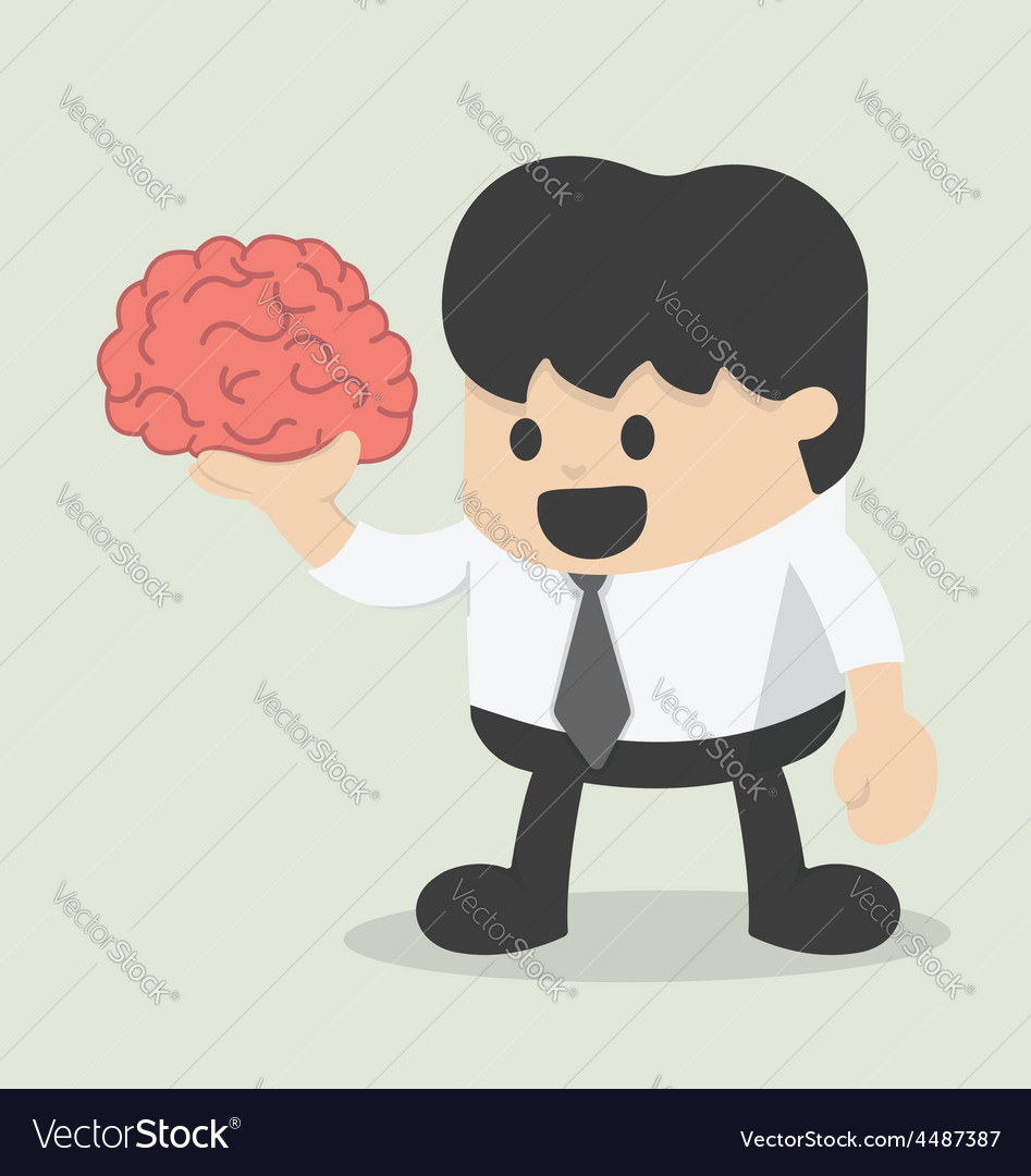 Businessman hold brain vector | Price: 1 Credit (USD $1)