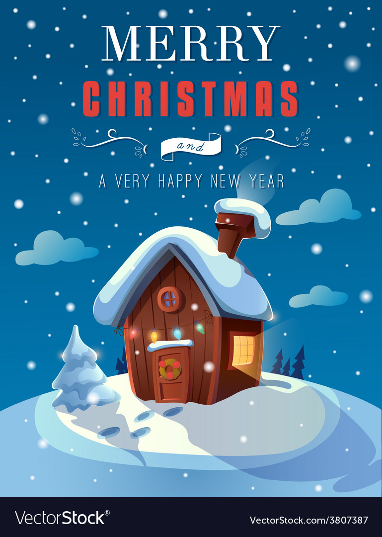 Christmas greeting card with a small cottage in vector | Price: 3 Credit (USD $3)