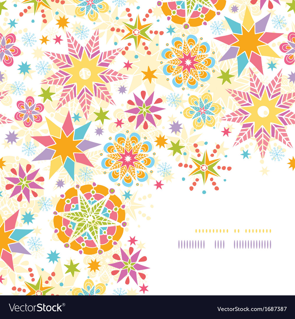 Colorful christmas stars corner decor pattern vector | Price: 1 Credit (USD $1)