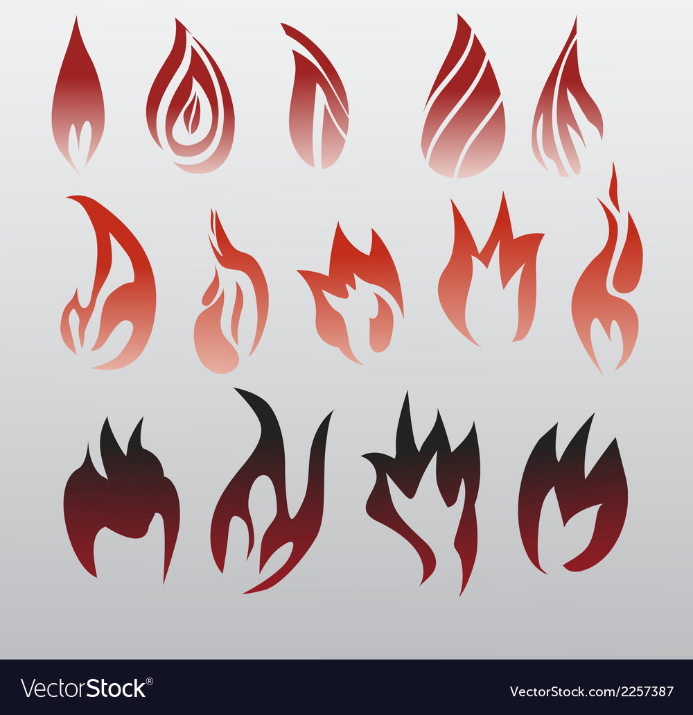 Icons flames fire vector | Price: 1 Credit (USD $1)