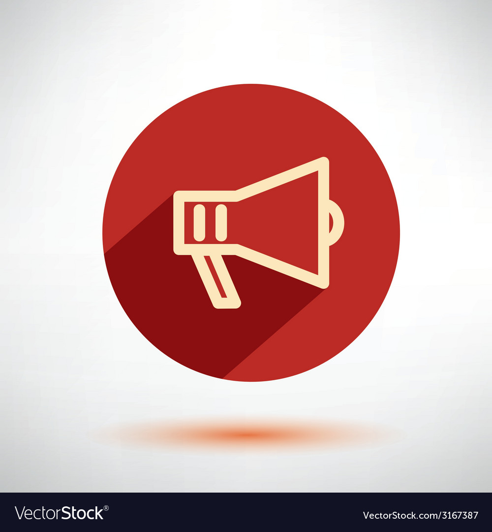 Megaphone loudspeaker isolated flat icon vector | Price: 1 Credit (USD $1)