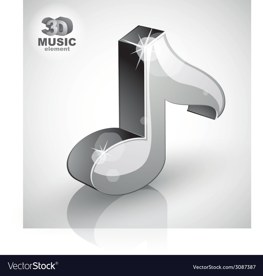 Metallic musical note icon isolated 3d music vector | Price: 1 Credit (USD $1)