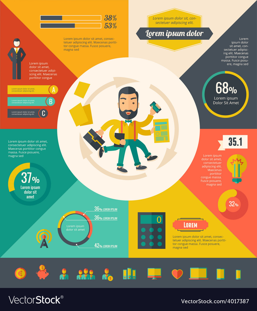 Multitasking infographic elements vector | Price: 1 Credit (USD $1)