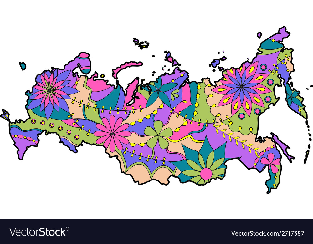 Painted map of russia vector | Price: 1 Credit (USD $1)