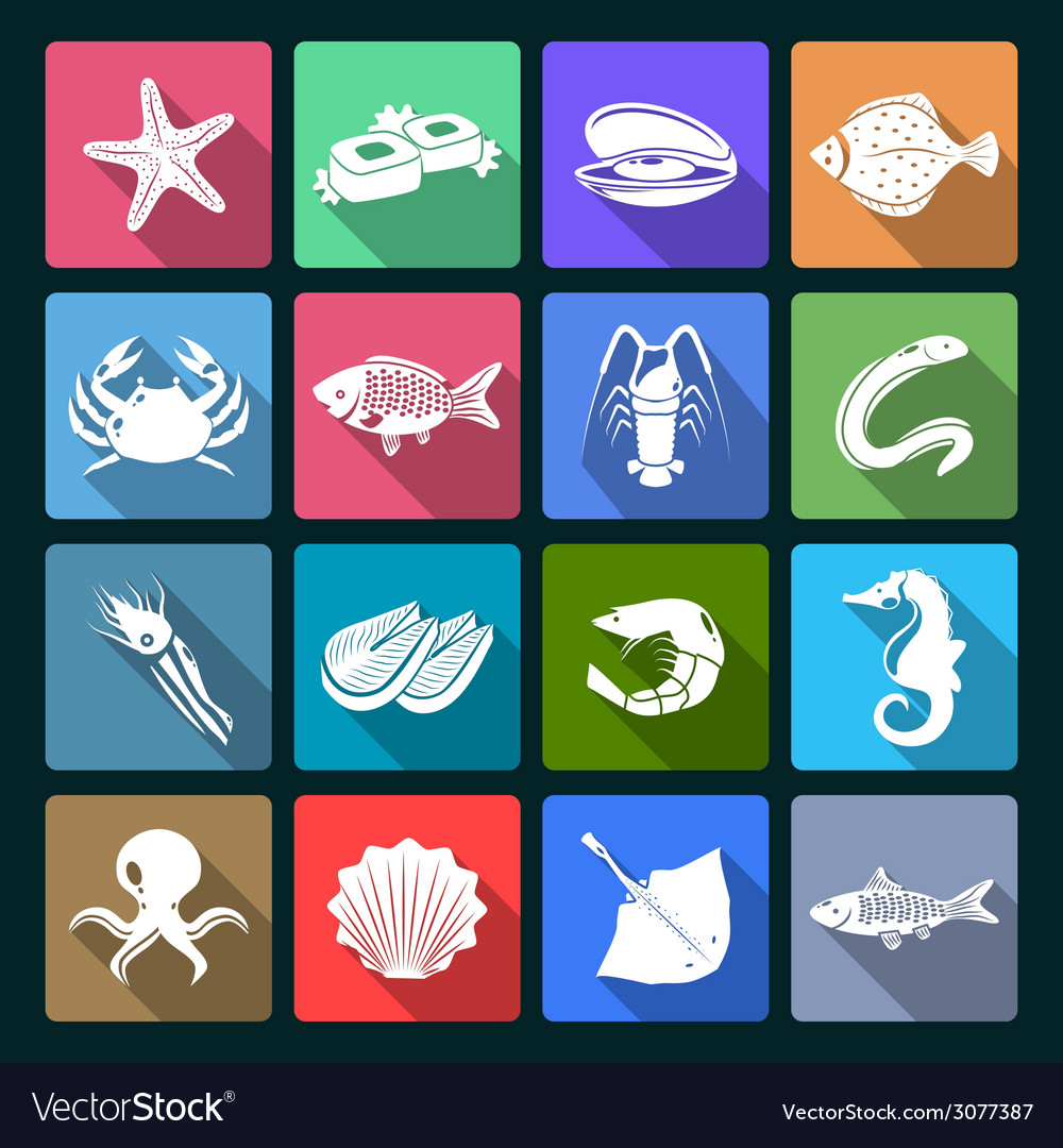 Seafood icons set white vector | Price: 1 Credit (USD $1)