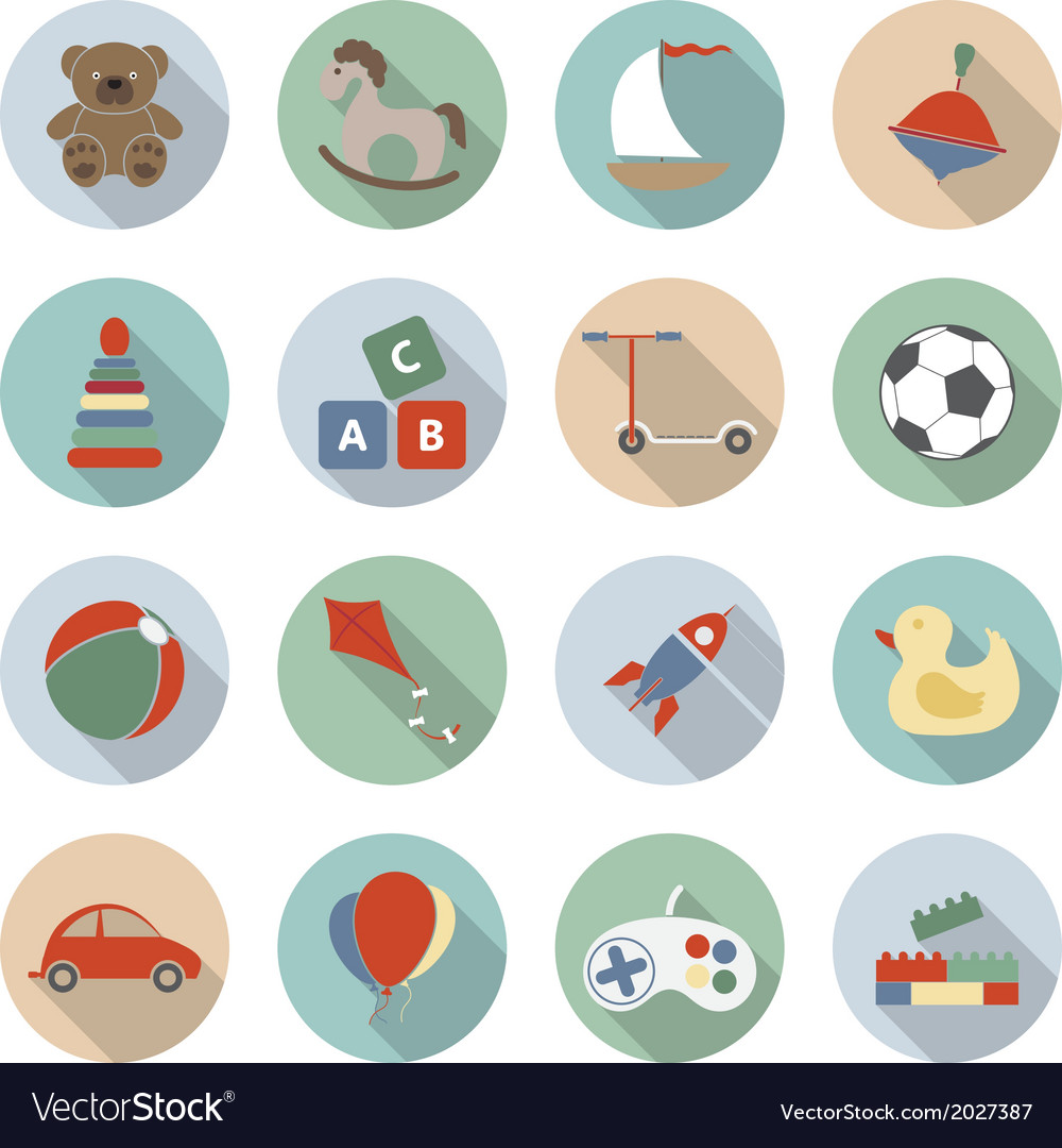 Toys flat icons vector   Price: 1 Credit (USD $1)