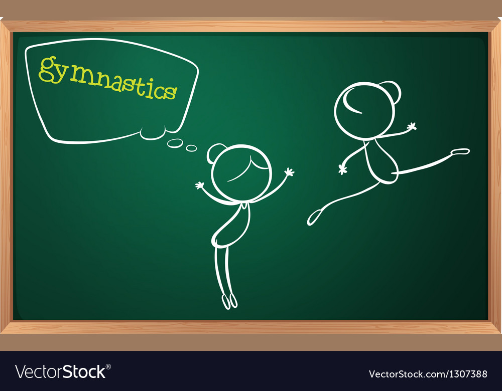 A blackboard with a drawing of two girls doing vector | Price: 1 Credit (USD $1)