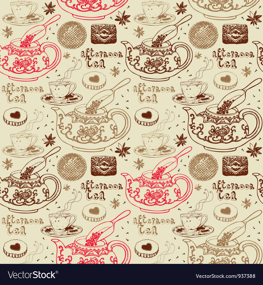 Afternoon tea background pattern vector | Price: 1 Credit (USD $1)