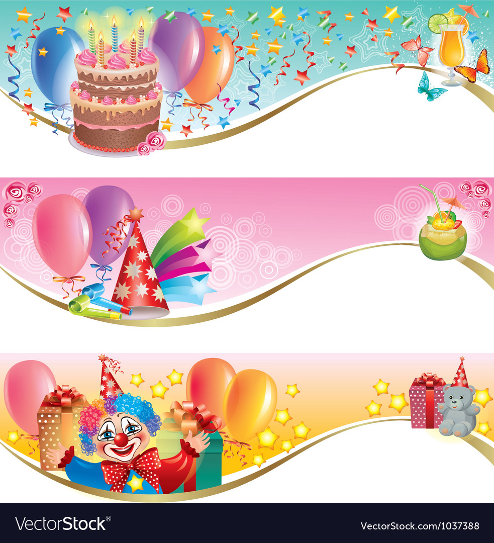 Birthday banners vector | Price: 3 Credit (USD $3)