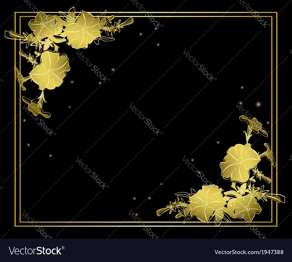 Black floral card with gold decorations vector | Price: 1 Credit (USD $1)