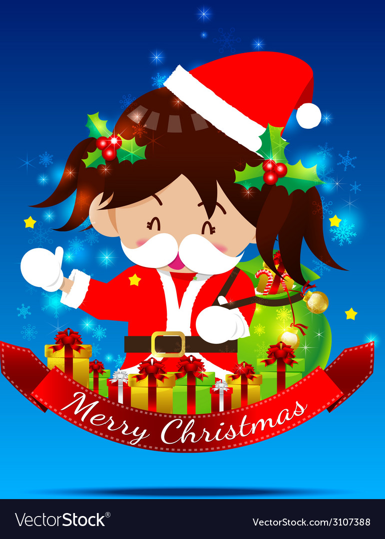 Christmas cartoon little girl with santa suit 002 vector | Price: 1 Credit (USD $1)