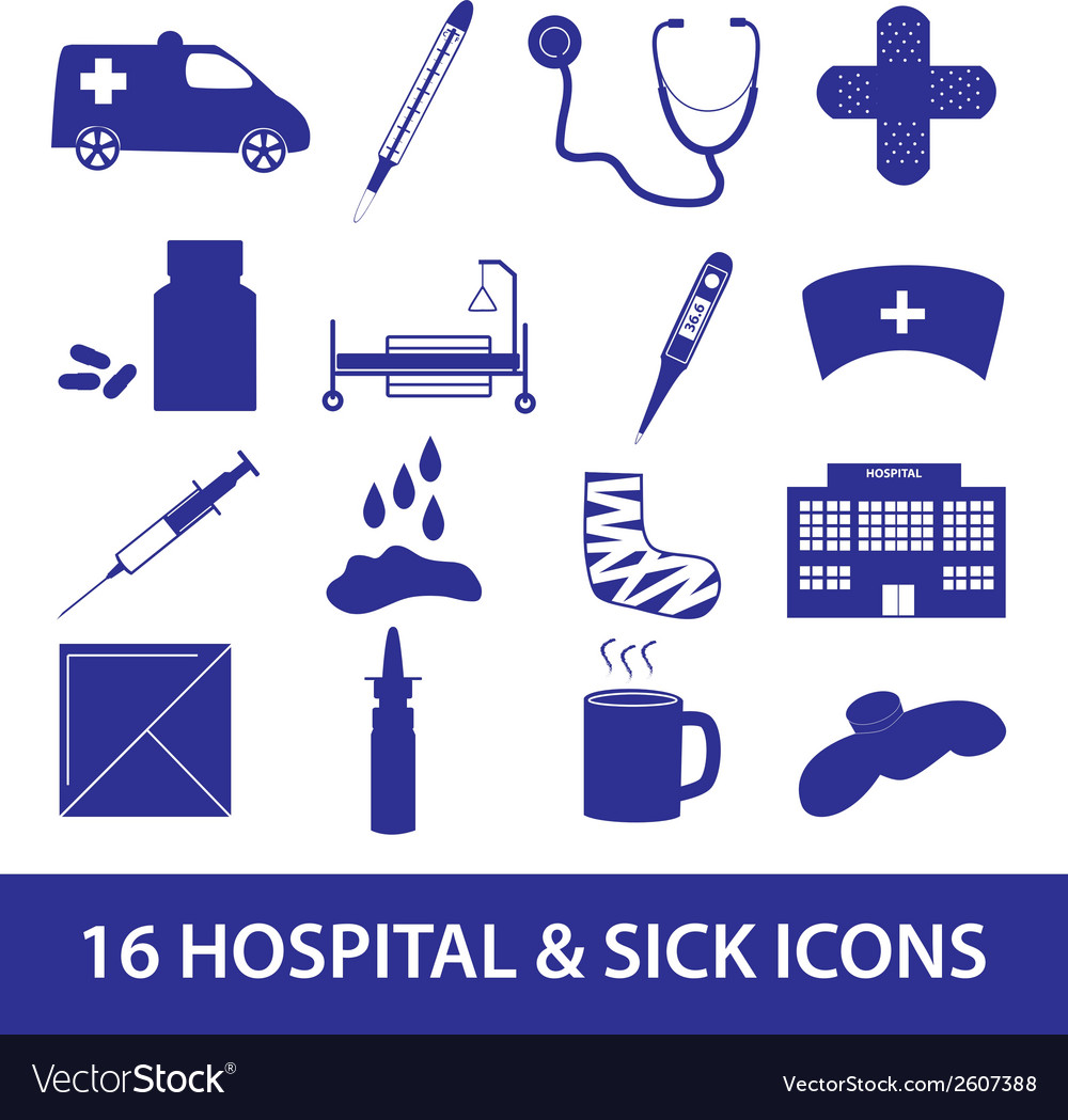 Hospital and sick icon set eps10 vector | Price: 1 Credit (USD $1)