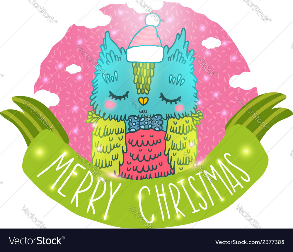 Merry christmas greeting background with an owl vector | Price: 1 Credit (USD $1)
