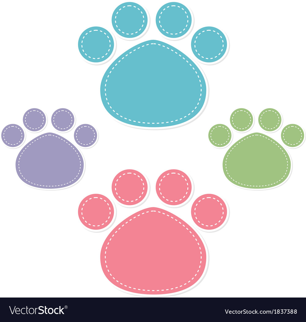 Paw prints color on white background vector | Price: 1 Credit (USD $1)