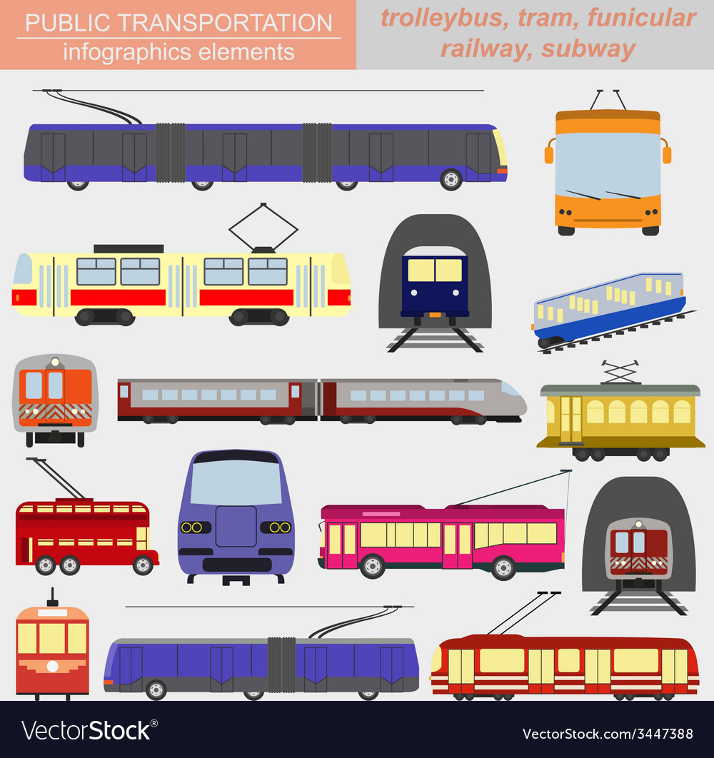 Public transportation infographics tram trolleybus vector | Price: 1 Credit (USD $1)