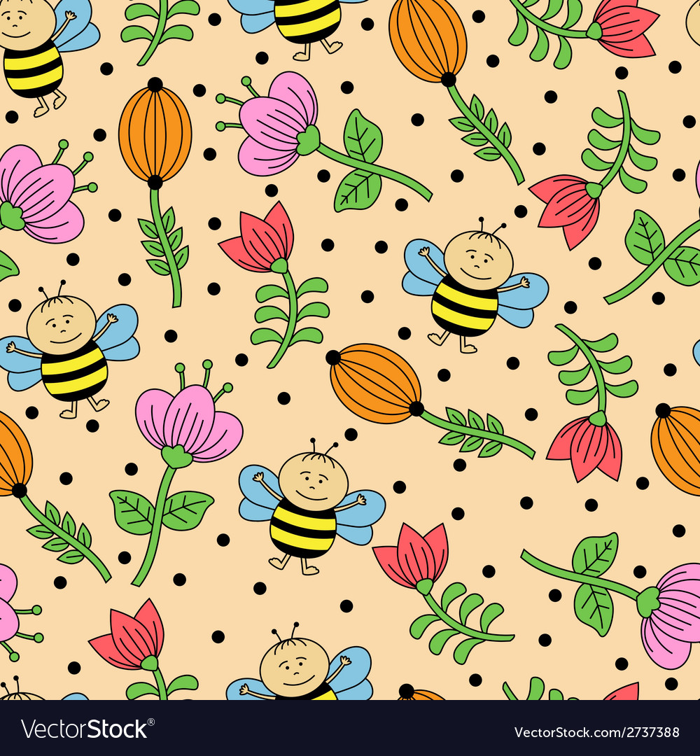 Seamless background with bees and flowers vector | Price: 1 Credit (USD $1)