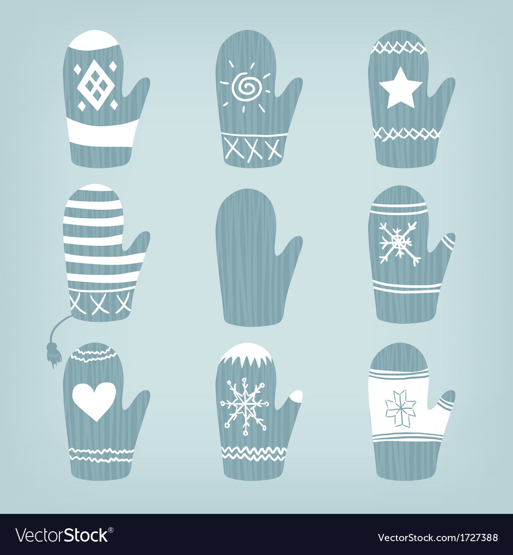 Set of christmas mittens vector   Price: 1 Credit (USD $1)