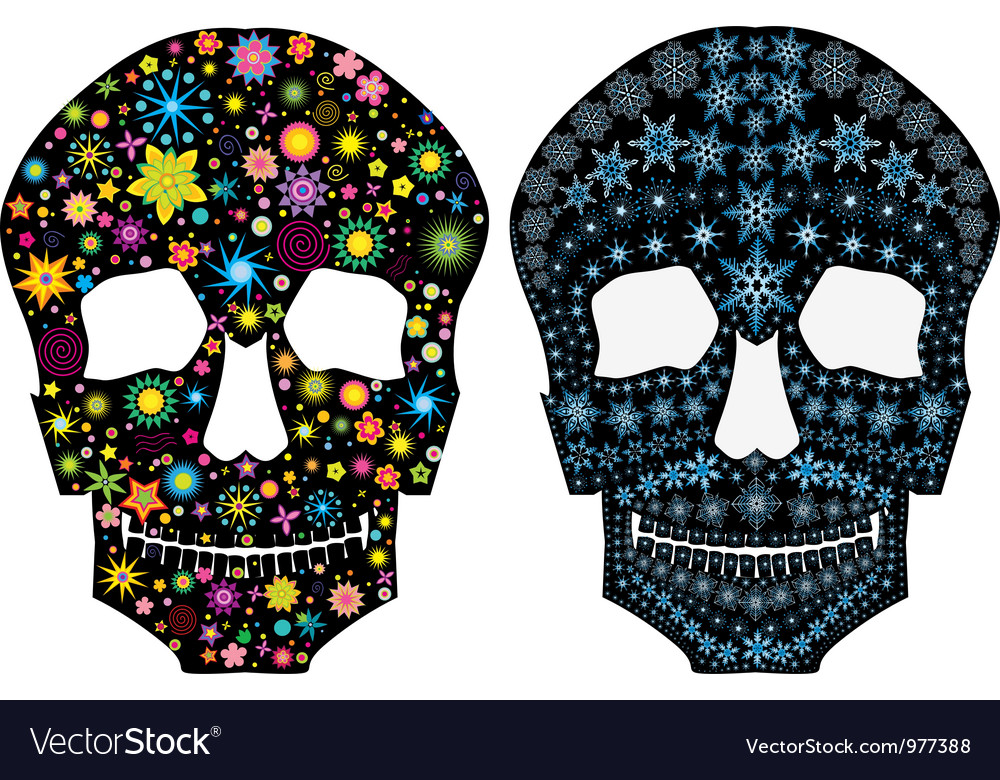 Set of decorative silhouettes of a skull vector | Price: 1 Credit (USD $1)