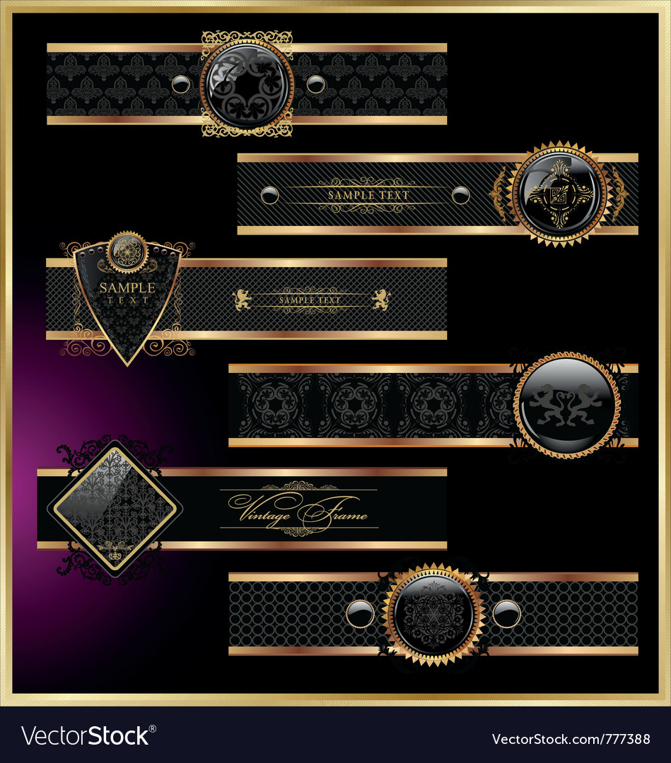 Vintage black gold frame label vector | Price: 1 Credit (USD $1)