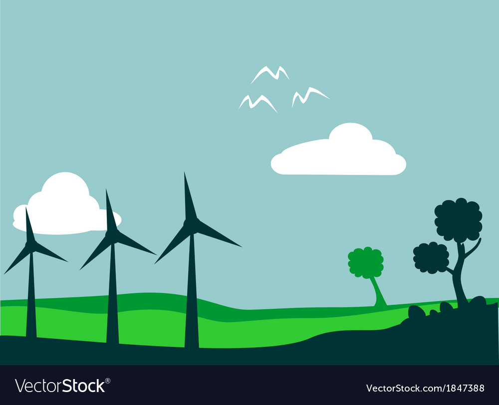 Windmill and environment vector | Price: 1 Credit (USD $1)