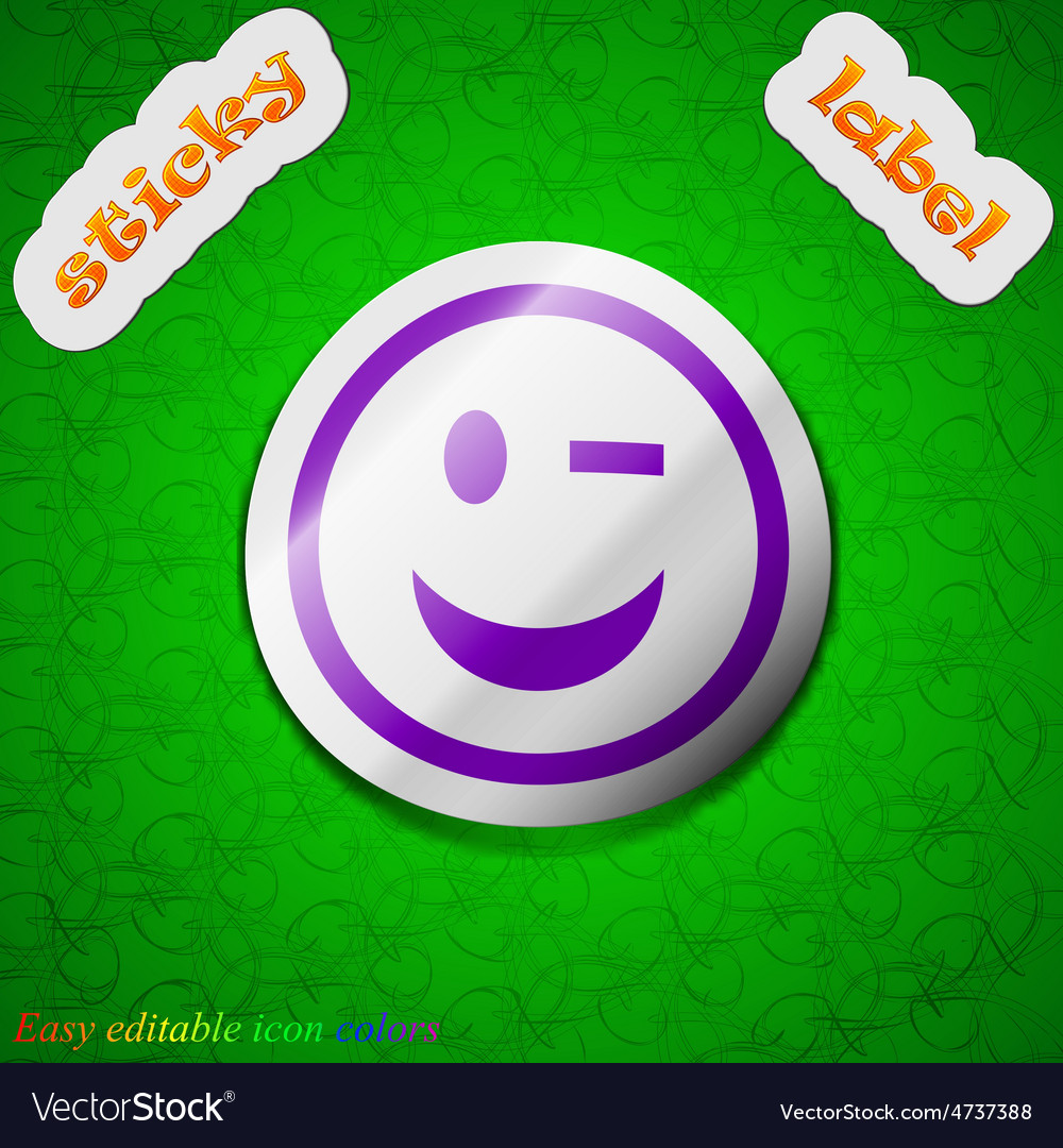 Winking face icon sign symbol chic colored sticky vector   Price: 1 Credit (USD $1)