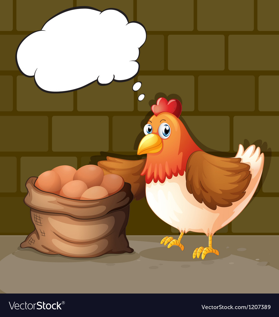 A hen beside the eggs with empty callouts vector