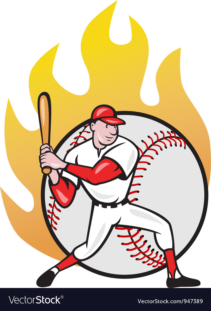 American baseball player batting ball vector | Price: 1 Credit (USD $1)