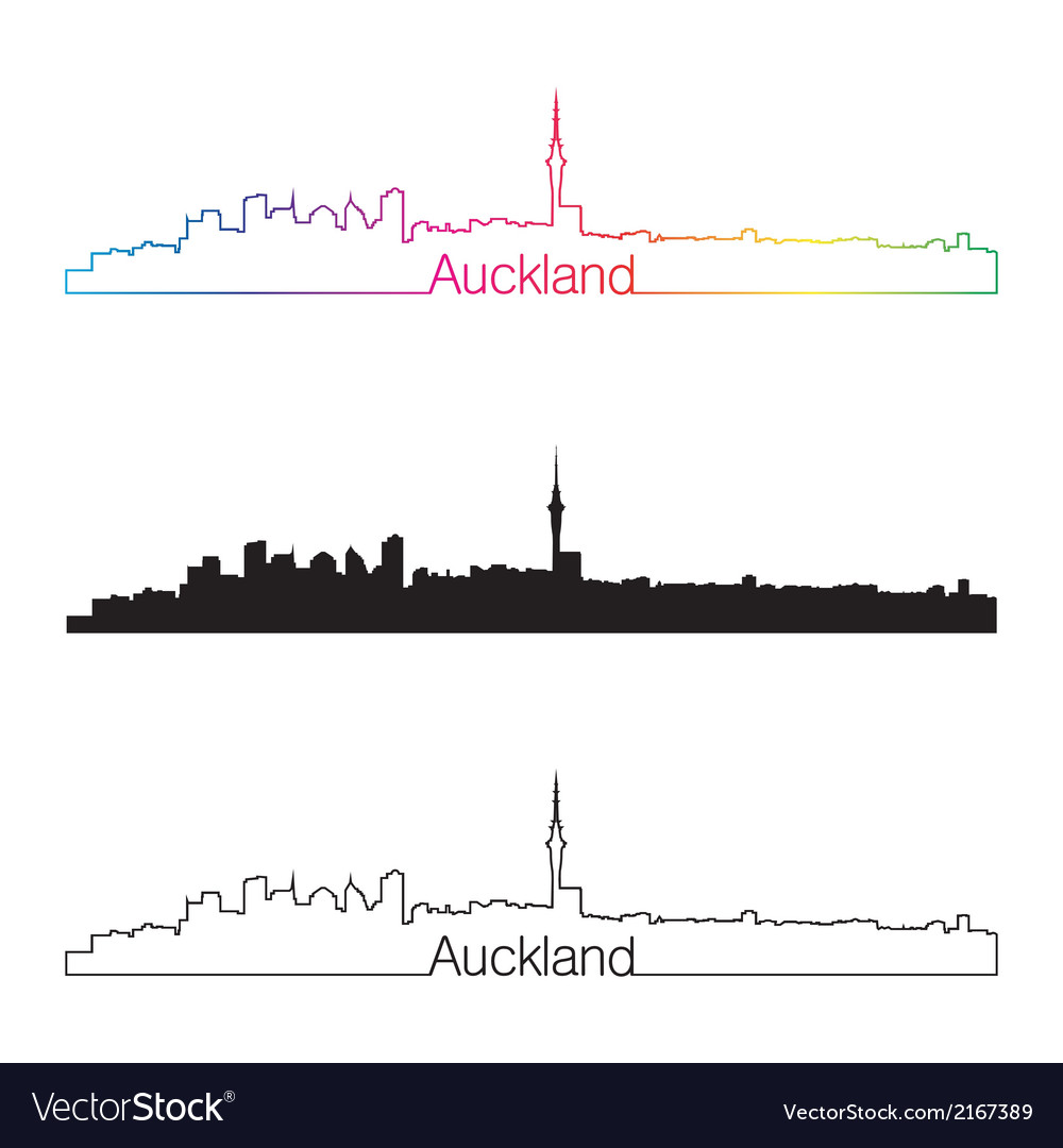 Auckland skyline linear style with rainbow vector | Price: 1 Credit (USD $1)