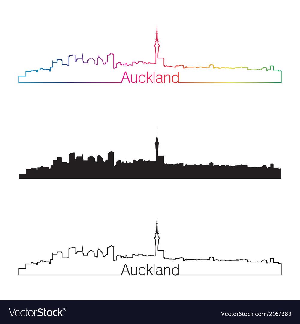 Auckland skyline linear style with rainbow vector | Price: 1 Credit (USD $1)