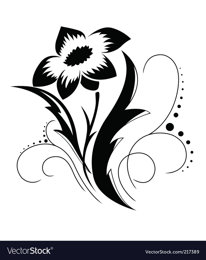 Black a white flower pattern vector | Price: 1 Credit (USD $1)