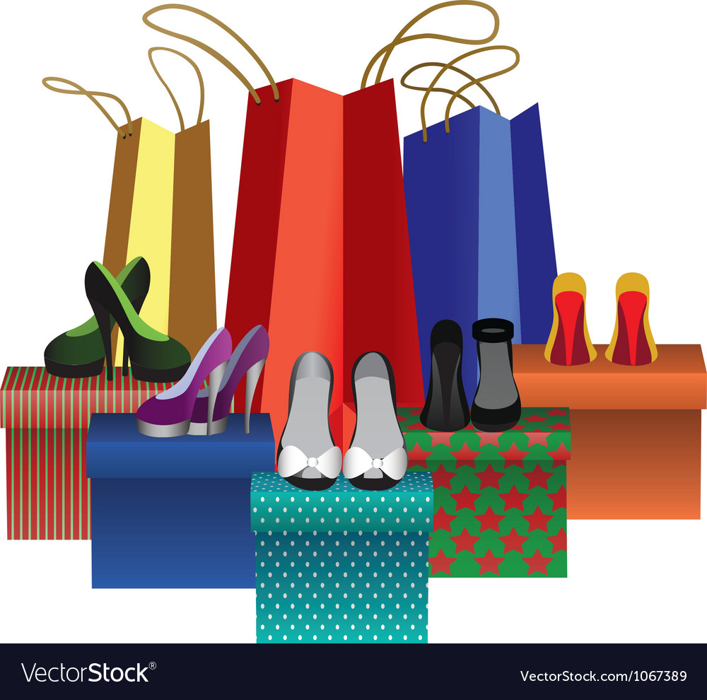 Boxes with woman shoes and shopping bags vector | Price: 1 Credit (USD $1)