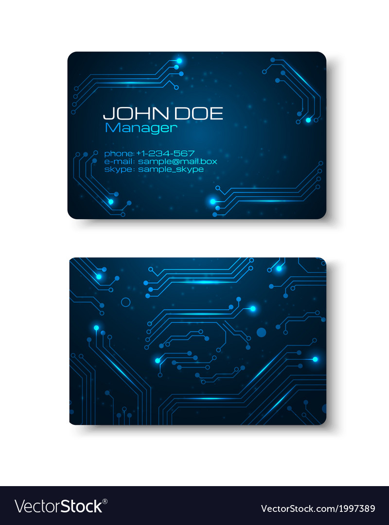 Business cards set with technology design vector | Price: 1 Credit (USD $1)