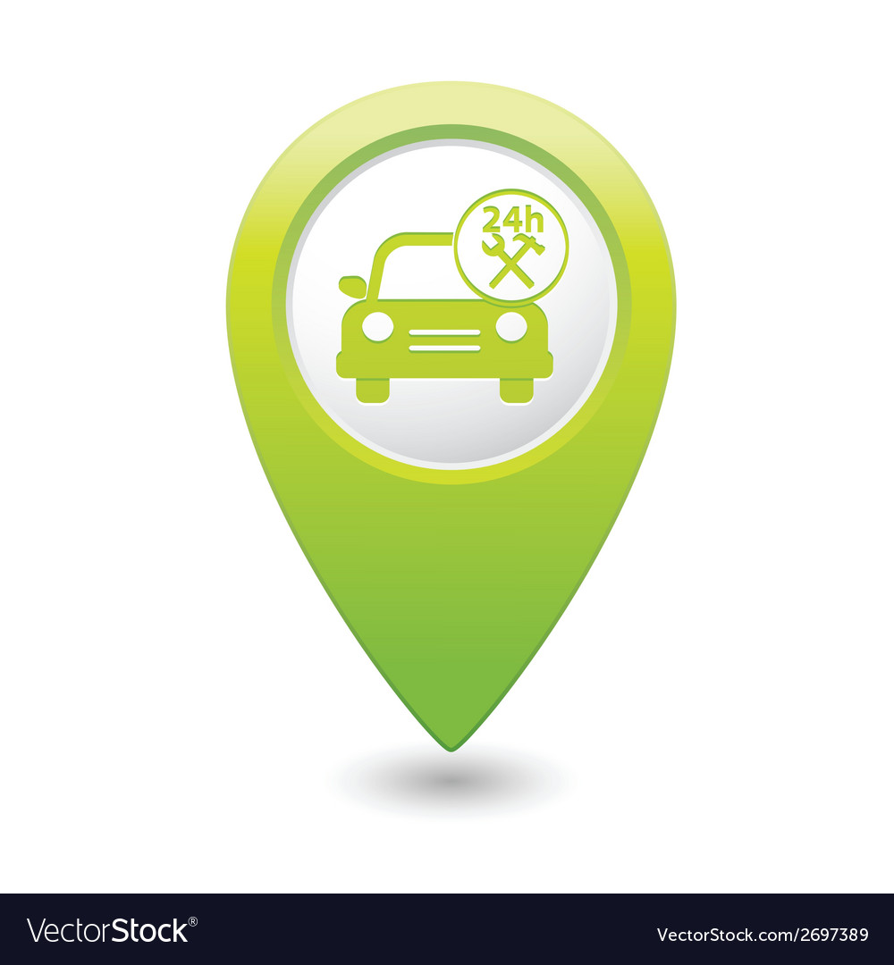 Car with tools icon map pointer green vector | Price: 1 Credit (USD $1)