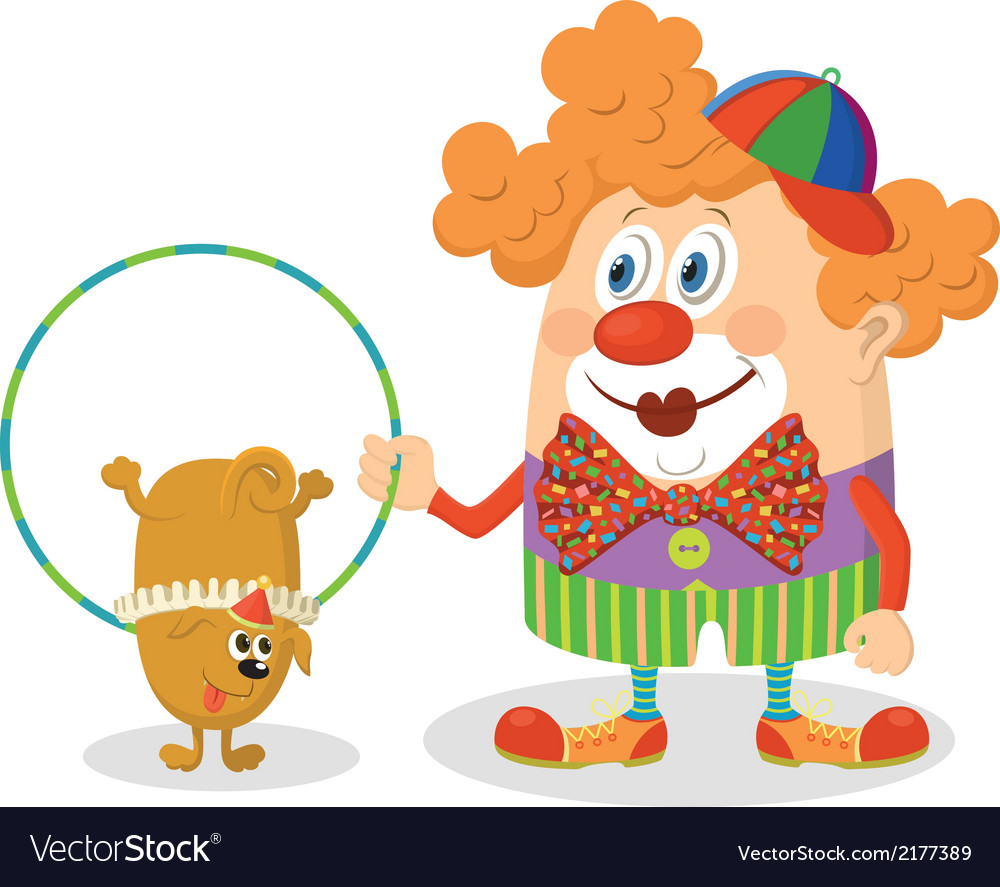 Clown with trained dog vector | Price: 1 Credit (USD $1)