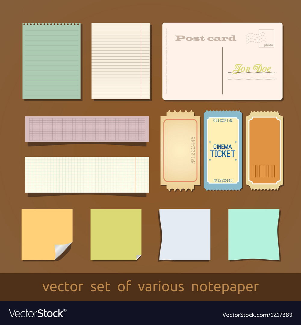 Collection of various notes paper and post card vector | Price: 1 Credit (USD $1)