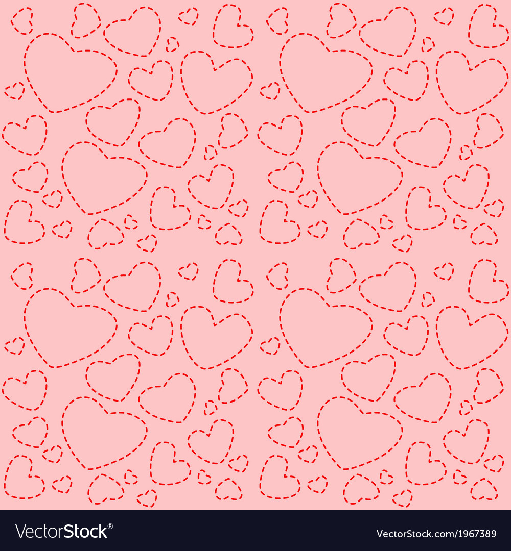 Cute pink seamless texture with red hearts vector | Price: 1 Credit (USD $1)