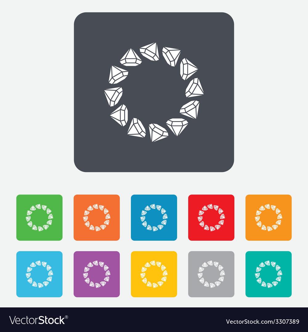 Jewelry sign icon diamonds circle symbol vector | Price: 1 Credit (USD $1)