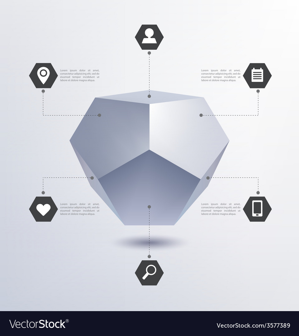Media infographics 3d geometric structure vector | Price: 1 Credit (USD $1)