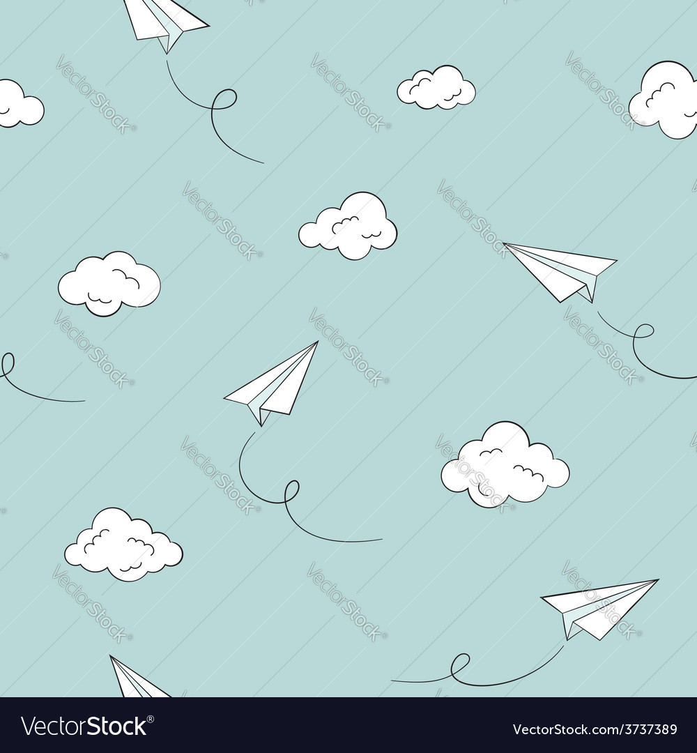 Paper plane seamless background vector | Price: 1 Credit (USD $1)