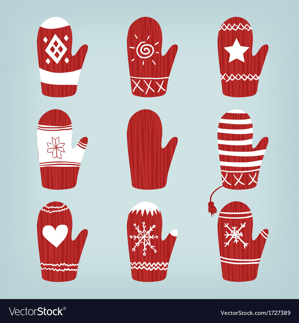 Set of christmas mittens vector | Price: 1 Credit (USD $1)
