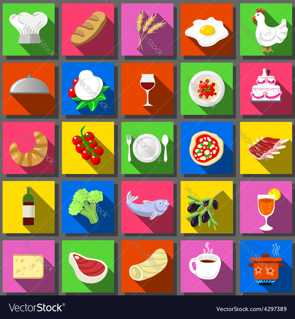 Twenty five square flat icon italian food vector | Price: 1 Credit (USD $1)