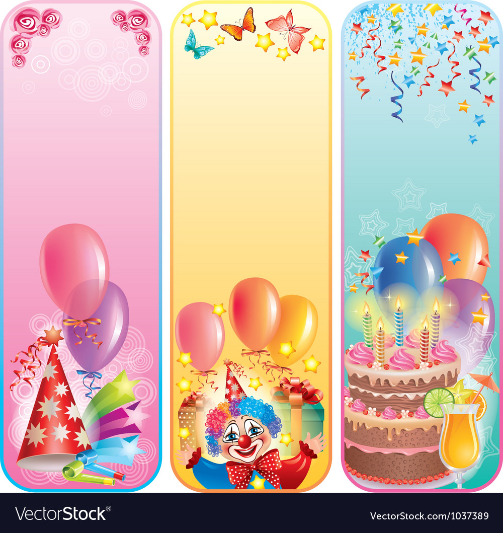 Vertical birthday banners vector | Price: 3 Credit (USD $3)