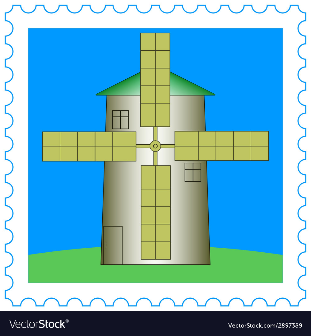 Windmill on stamp vector | Price: 1 Credit (USD $1)