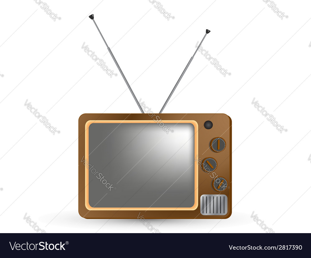Brown vintage tv vector | Price: 1 Credit (USD $1)